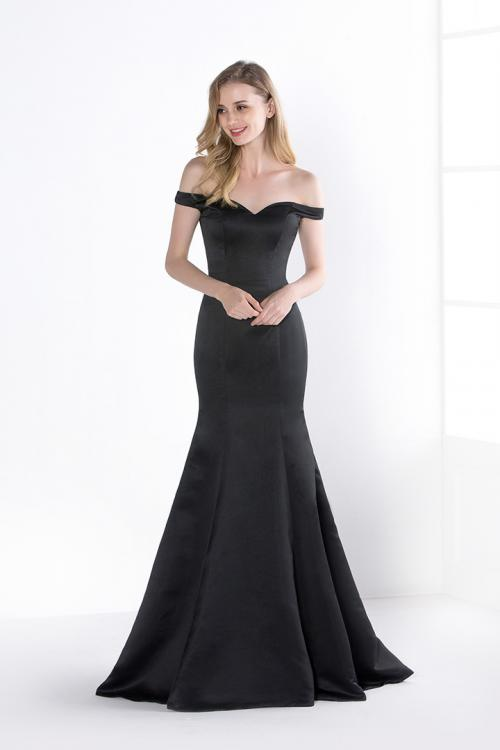 Simple Off Shoulder Black Mermaid Long Satin Prom Dress