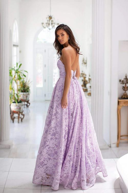 A-line Sweetheart Sleeveless Split Floor-length Lilac Lace Long Prom Dresses