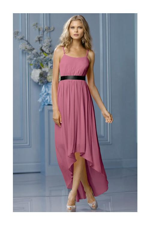 High Low Natural None A-line Sleeveless Chiffon Bridesmaid Dresses