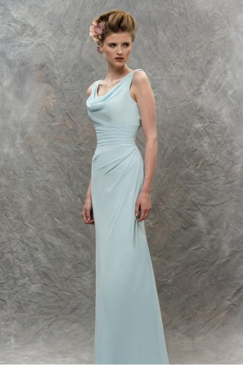 Chic Cowl Neck Lace Appliqued Sheath Cloud Blue Long Chiffon Bridesmaid Dress