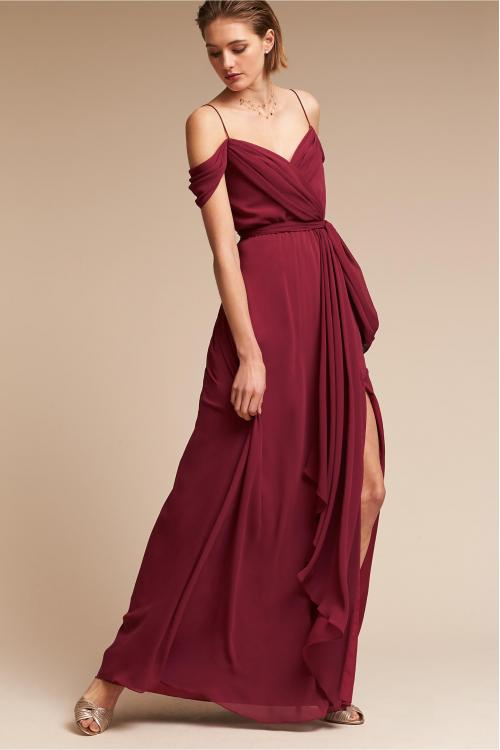Chic Modern Spaghetti Straps Long A-line Burgundy Chiffon Bridesmaid Dress