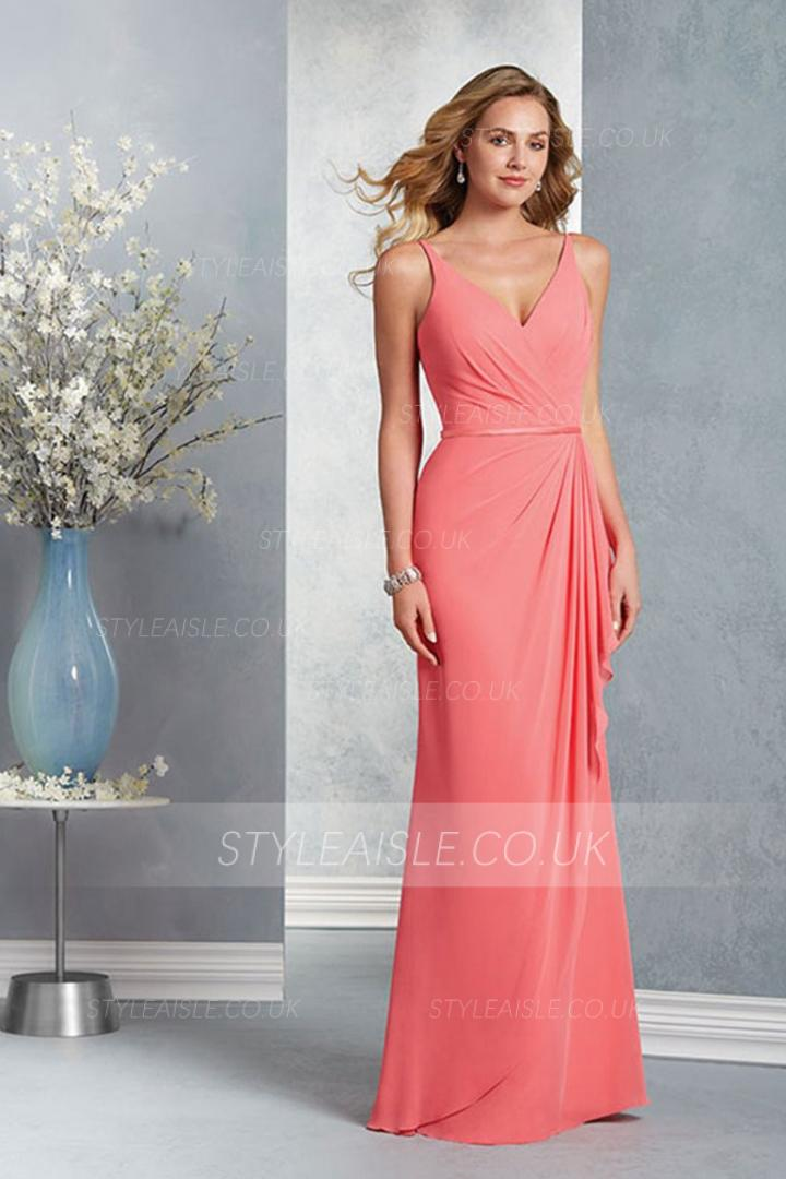 Coral Sleeveless V Neck Sheath Long Chiffon Bridesmaid Dress with Sash
