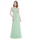 Vintage Floor-lengthA-line Cap Sleeve Bateau Neck Bridesmaid Dresses