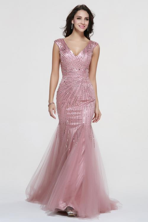 Sparkling Beaded Shoulder Straps Beading A-line Rose Pink Tulle Prom Dress