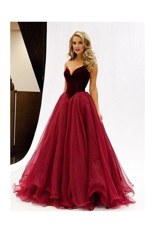 Ruby Ball Gown Strapless Long Tulle Evening Dresses