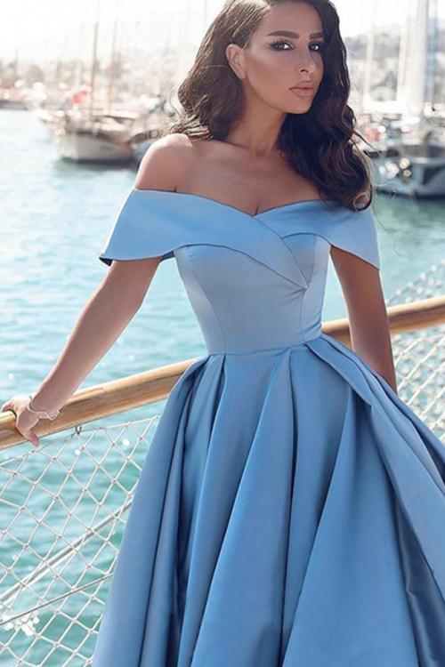 Ball Gown Off-the-shoulder Short Sleeve Ruching Court Train Long Satin Prom Dresses