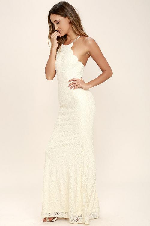 Sleeveless Halter Neck Long Sheath Lace Prom Dress Ivory