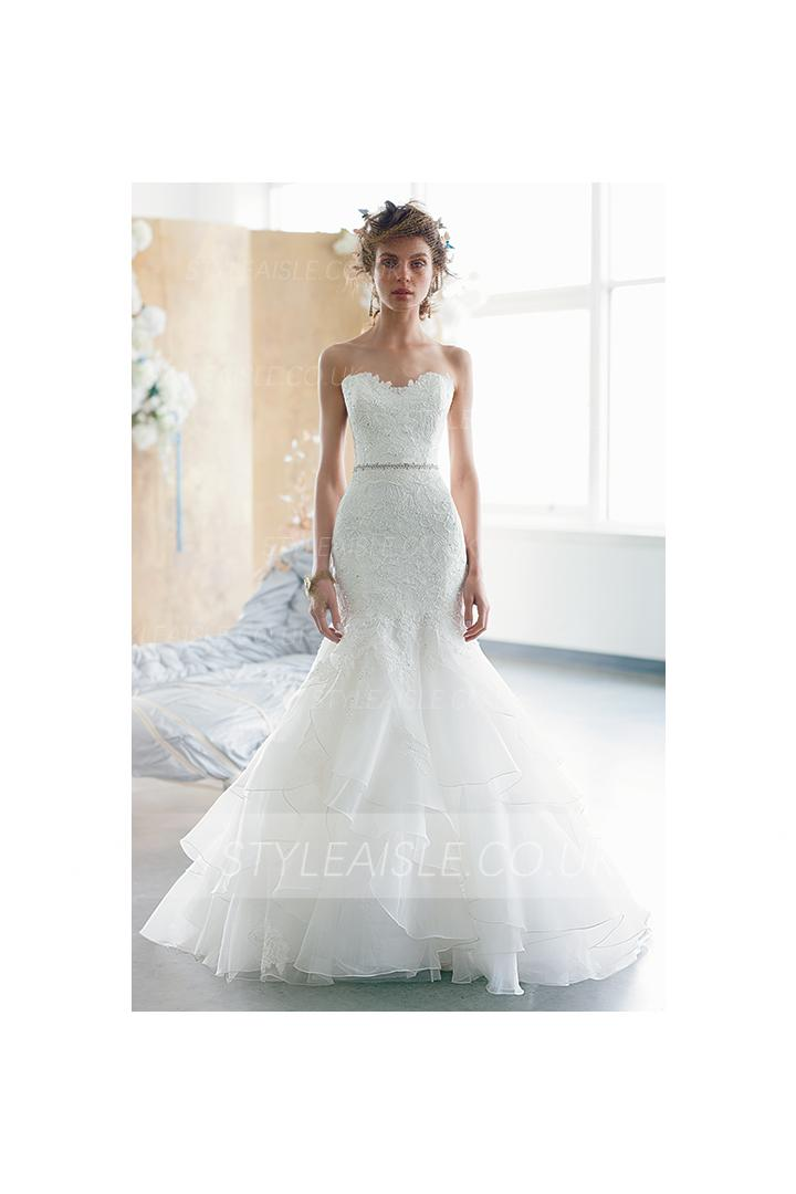 Sexy Trumpet/Mermaid Sweetheart Lace Bodice Sweep/Brush Train Organza Wedding Dress with Belt