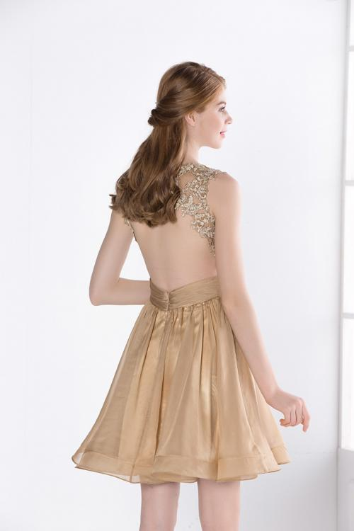 Illusion Neckline Backless Gold Lace Bodice Cocktail Dress Short