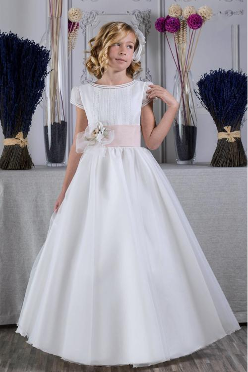 Cap Sleeves Long A-line Ivory Organza Holy Communion Dress with Flower