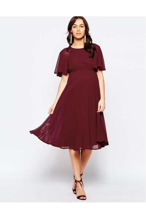 Short-Sleeve Maternity Lace-up Zippered Back Short Chiffon Dresses