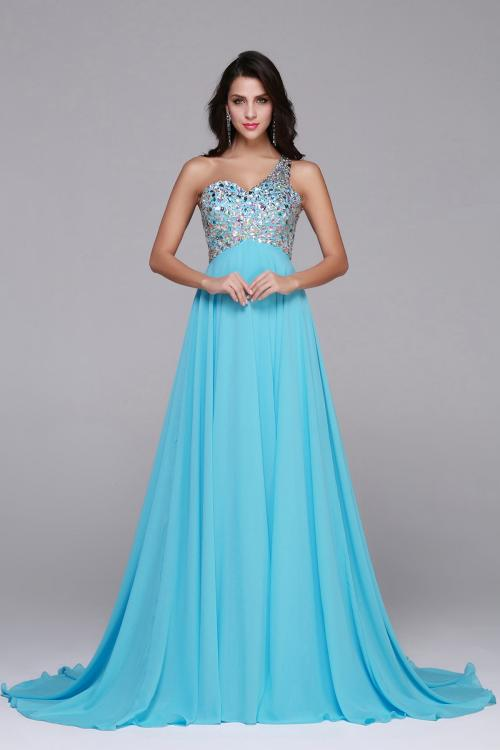 Sleeveless One Shoulder Beading Long Blue Chifofn Prom Dress
