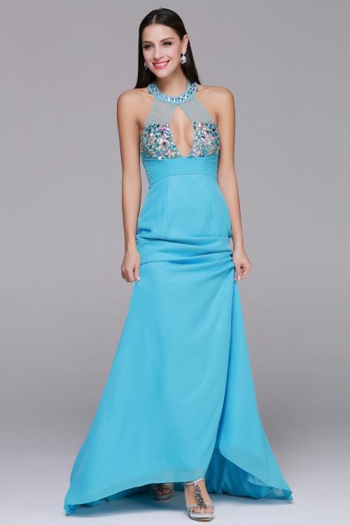 One Sleeveless Halter Neck Long Sheath Blue Chiffon Prom Dress