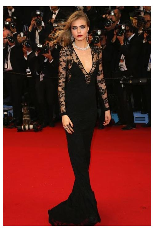 Sheath V-neck Long Sleeve Black Lace Long Celebrity Prom Dress