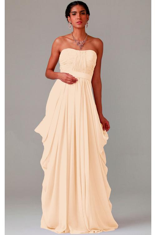 Zipper Chiffon Floor-length Strapless A-line Bridesmaid Dresses