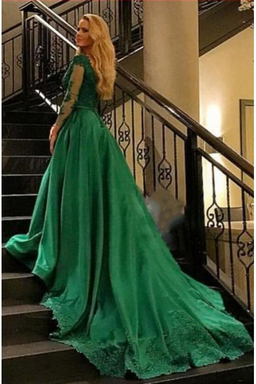 Long Sleeves Lace Appliques Ball Gown Satin Prom Evening Dress