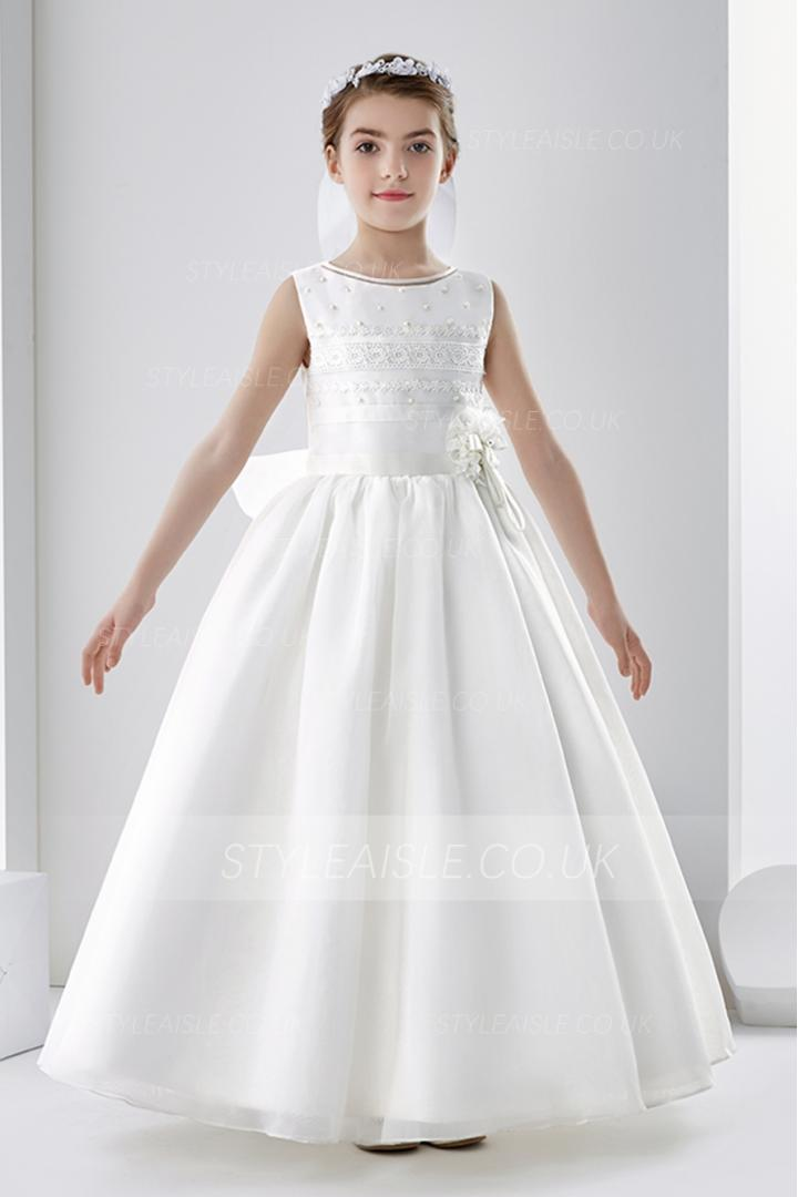 Sleeveless Lace Beading Ball Gown Organza Wedding Dress with Bow