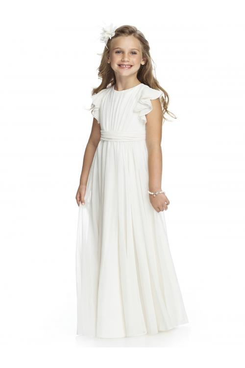 Simple Sheath/Column Straps Ruching Floor-length Chiffon Flower Girl Dresses