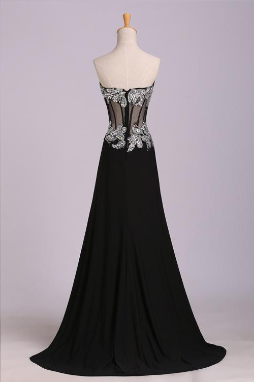 Black Sweetheart Sleeveless Beading Split Sweep/Brush Train Long Chiffon Evening Dresses