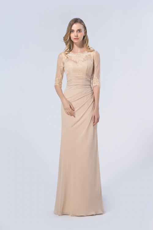 3/4 Sleeved Illusion Neck Sheath Champagne Long Chiffon Bridesmaid Dress
