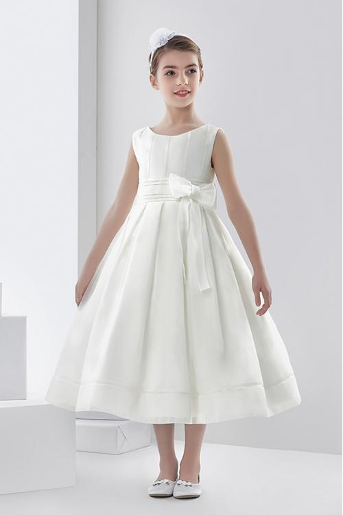 Ball Gown Scoop Neck Sleeveless Bow(s) Tea-length Long Organza Communion Dresses