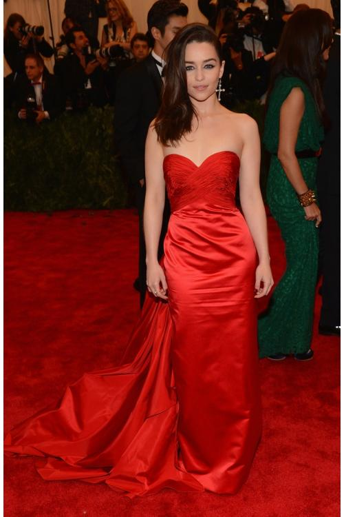 Emilia Clarke Red Strapless Ruched Bodice Long Elegant Satin Met Ball Red Carpet Inspired Prom Dress