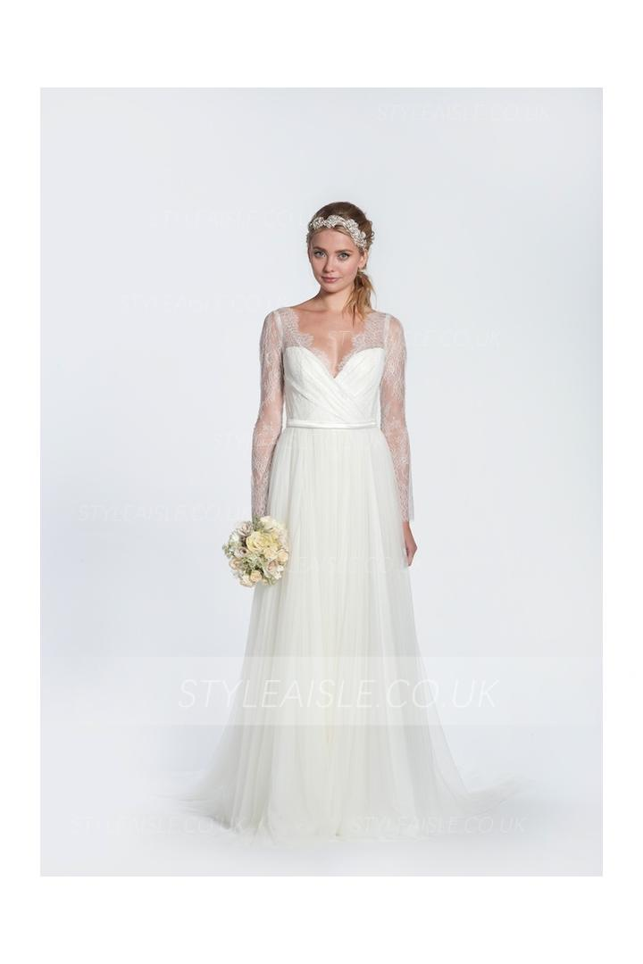 V Neck Long Sleeved Pleated Bodice A-line Tulle Wedding Dress with Ribbon