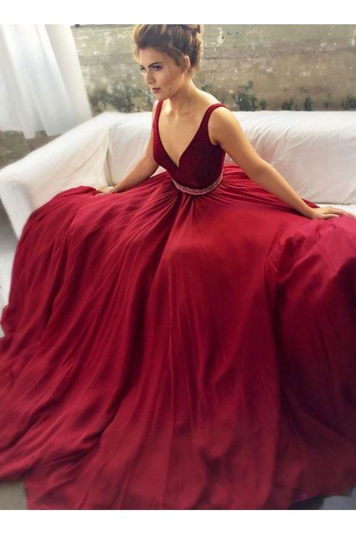 Long Sleeveless V Neck A-line Burgundy Chiffon Prom Dress with Beading