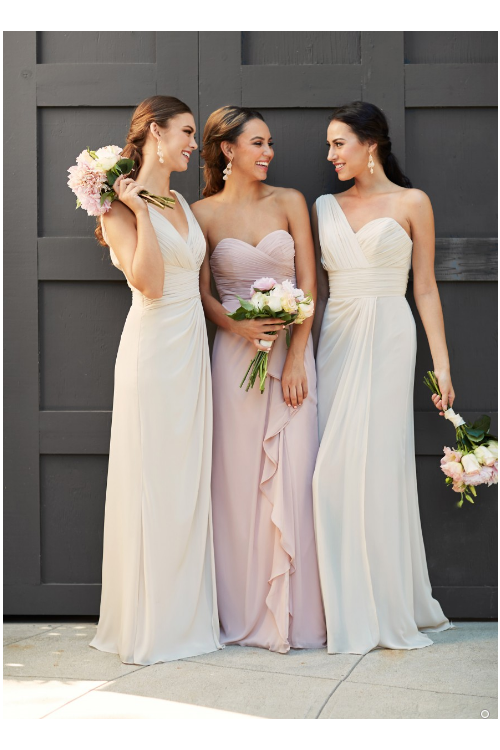 Blush A-line Strapless Sweetherat Pleated Long Chiffon Bridesmaid Dress