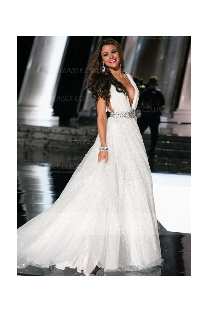 Sleeveless V Neck A-line Sequin White Organza Wedding Dress with Crystal Belt