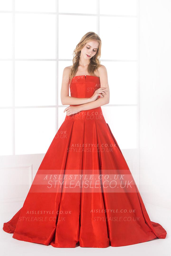 Chic Modern Long Strapless Pleated Orange Taffeta Ball Gown Prom Dress