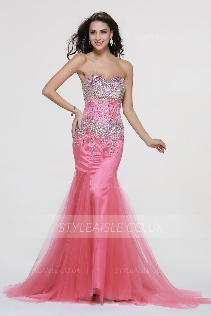 Beading Strapless Trumpet Long Tulle Prom Dress