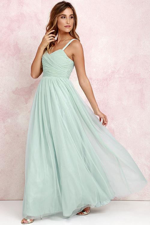 Shoulder Straps Pleated Long Tulle Bridesmaid Dress