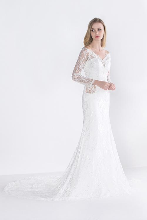 White V Neck A-line Long Sleeve Lace Wedding Dress