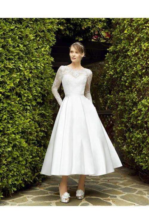 Vintage Tea Length Short Wedding Dress Long Sleeves with Ribbon
