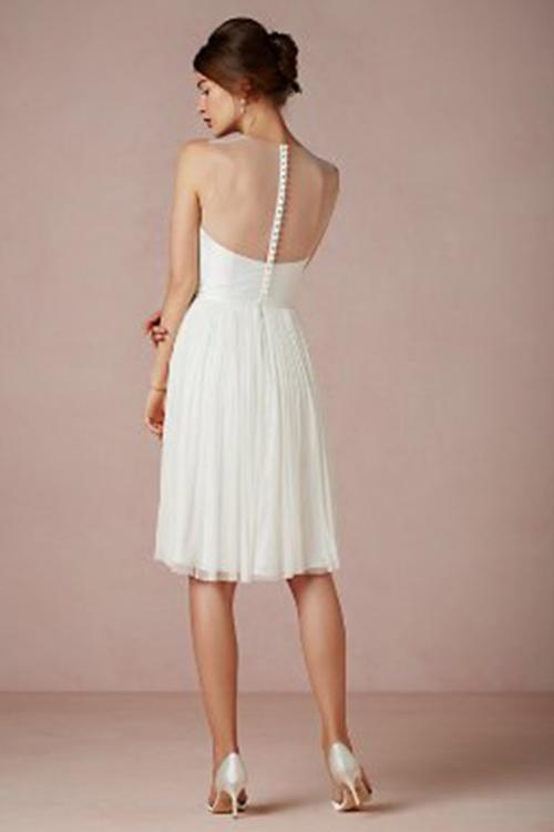 A-line Scoop Neckline Sleeveless Lace Appliques Top Empire Waist Knee-length Short Wedding Dresses with Beading Sash