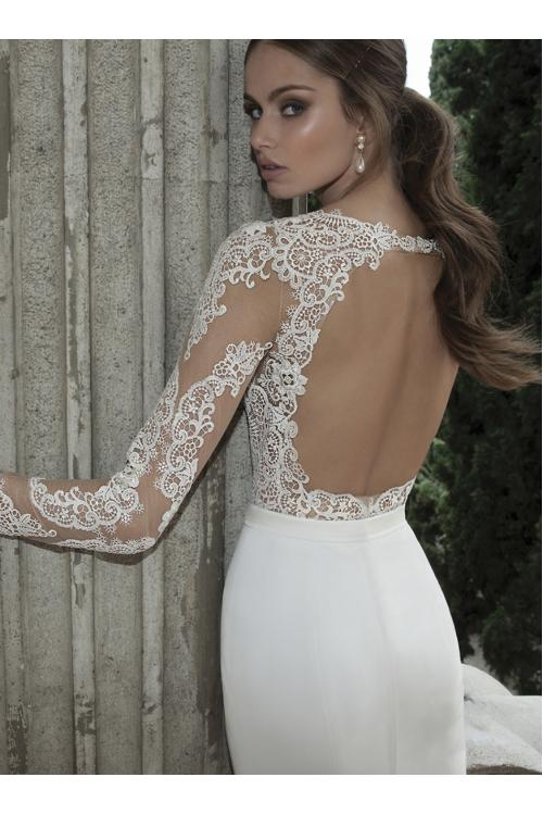 Sexy Long Sleeved Delicate Lace Bodice Mermaid Long Satin Chiffon Wedding Dress with Crystal Band