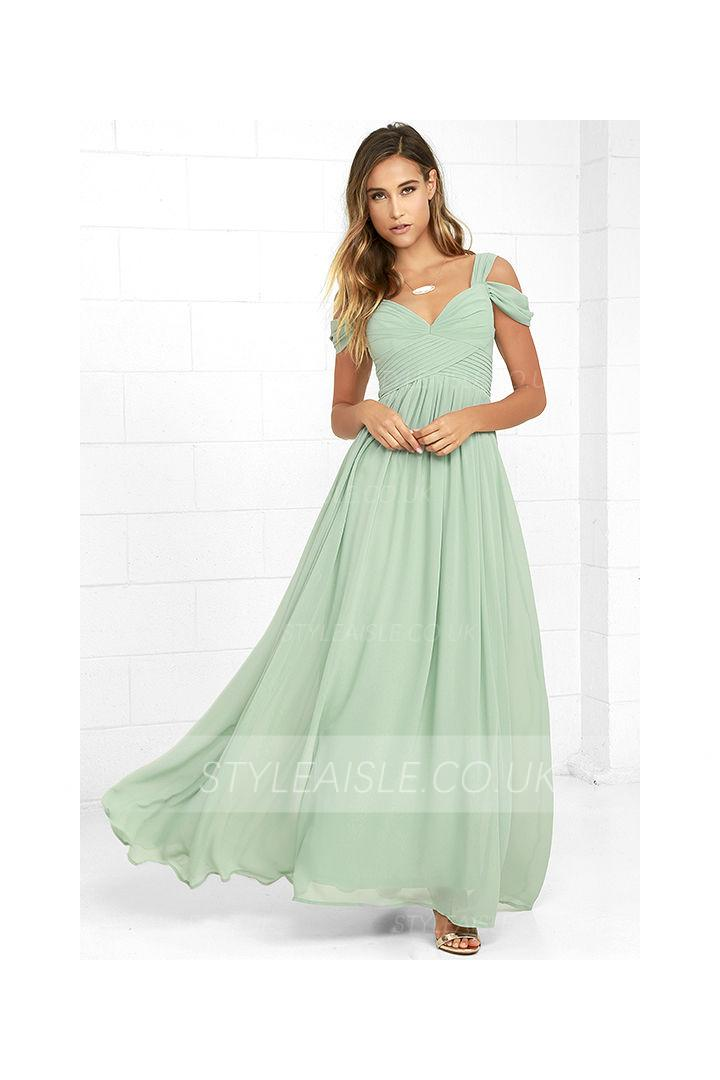 Off Shoulder Mint Long Green Chiffon Maxi Prom Dress