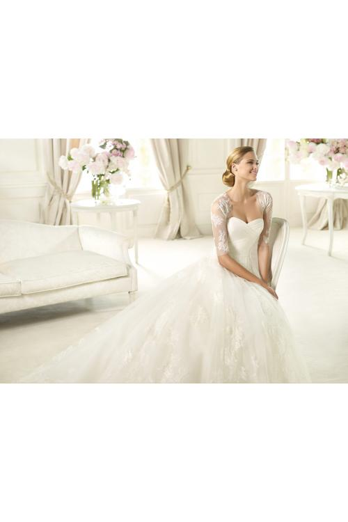 Honorable A-line Sweetheart Lace Sweep/Brush Train Tulle Wedding Dresses