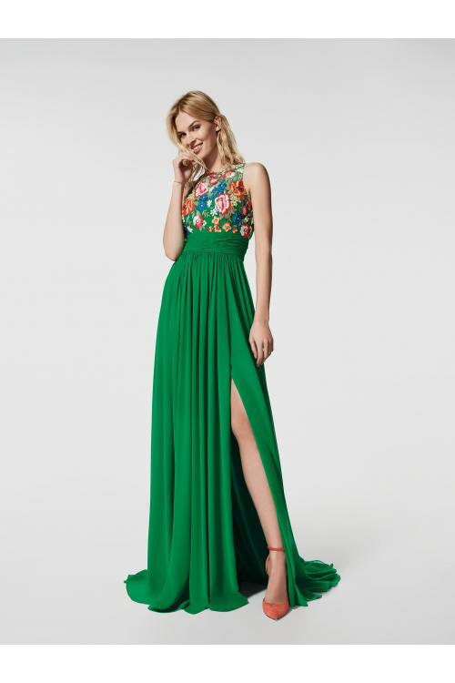 Vinatge Inspired Floral Lace Embroidered Long Green Chiffon Prom Dress