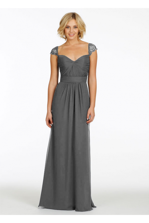 Queen Anne Neck Lace Cap Sleeved Fit Flared Chiffon Bridesmaid Dress