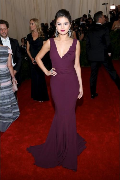 Met Gala Red Capet Selena Gomez Sheath Shoulder Straps Sleeveless V Back Floor-length Prom Dress