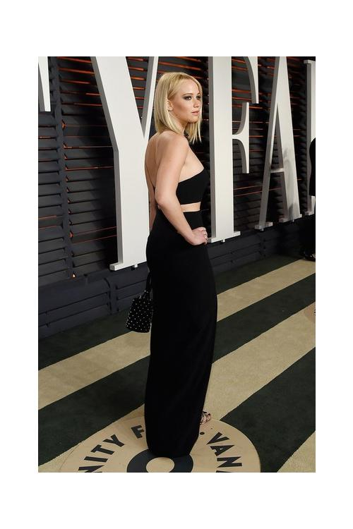 Jennifer Lawrence Black Sheath Strapless Split Floor-length Long Prom Dress
