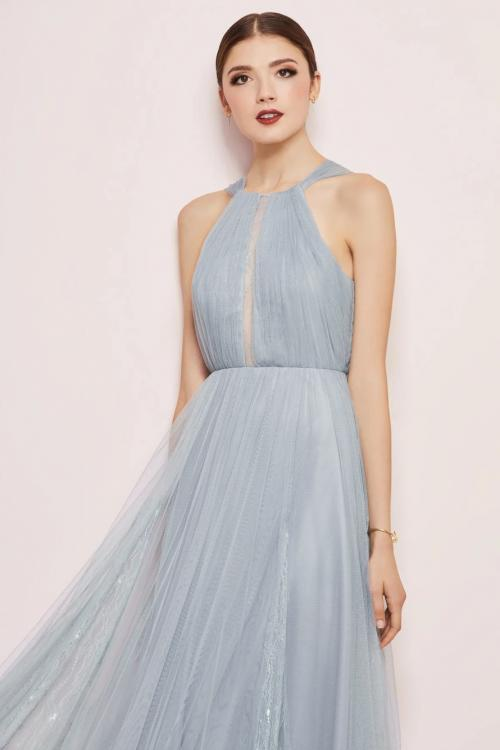 A-line Jewel Neckline Sleeveless Lace Ruching Floor-length Long Tulle Prom Dresses