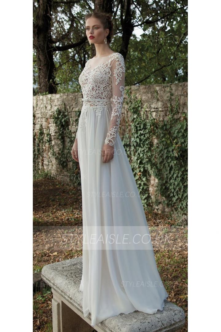 Long Sleeves See-through Lace Bodice Column Backless Chiffon Wedding Dress