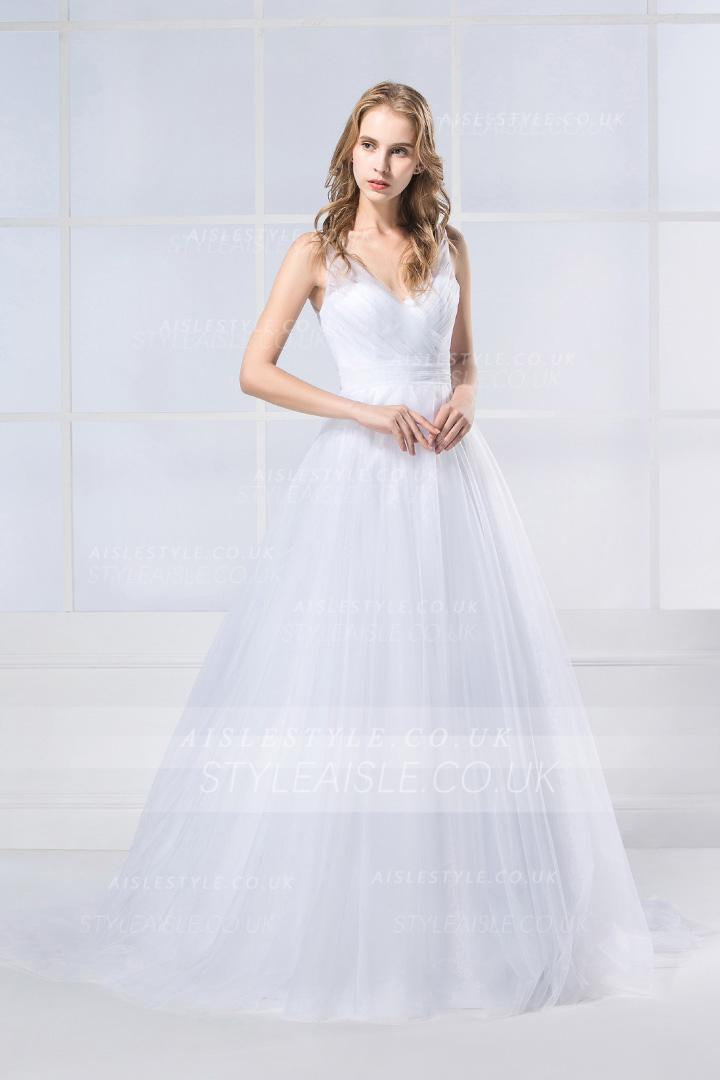 Simple V Neck A-line Long Tulle Wedding Dress