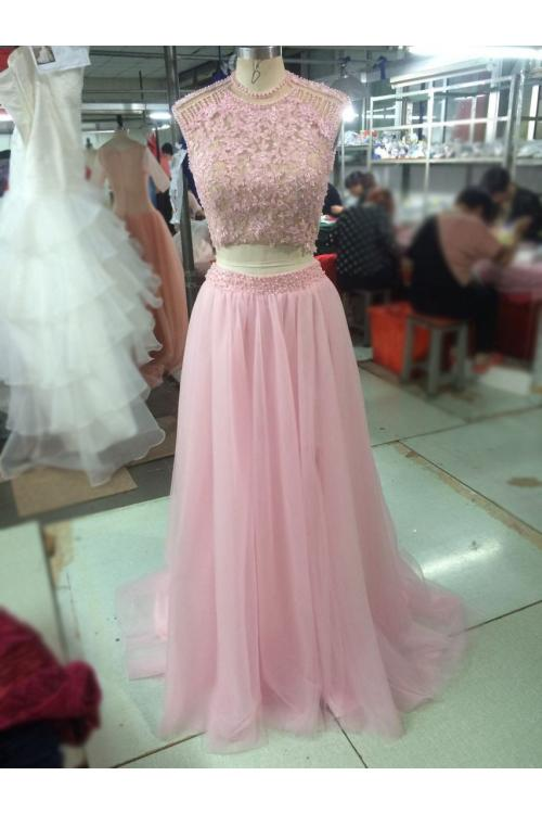 Jewel Neck Cap Sleeve Beading Long A-line Blush Tulle Prom Dress