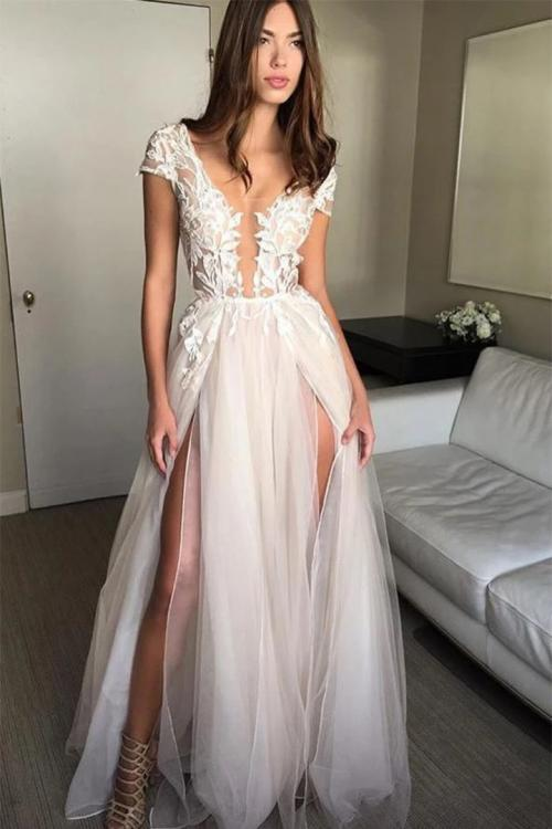 Illusion Neck Cap Sleeve Lace Appliques Backless Split Sweep-Train Long Tulle Prom Dress
