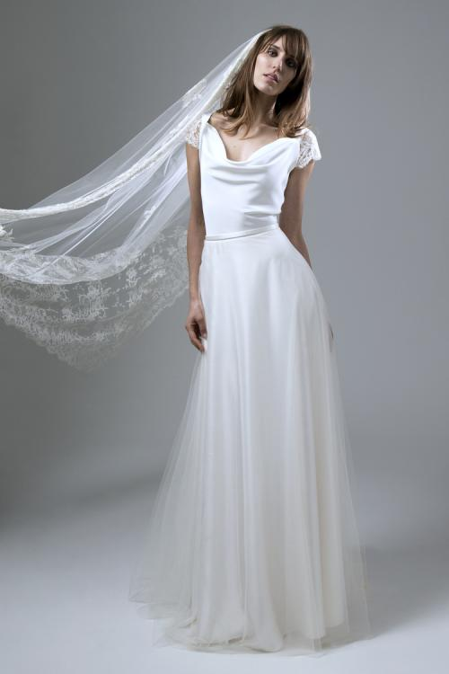 Short Sleeved V Neck Long Satin and Tulle Wedding Dress