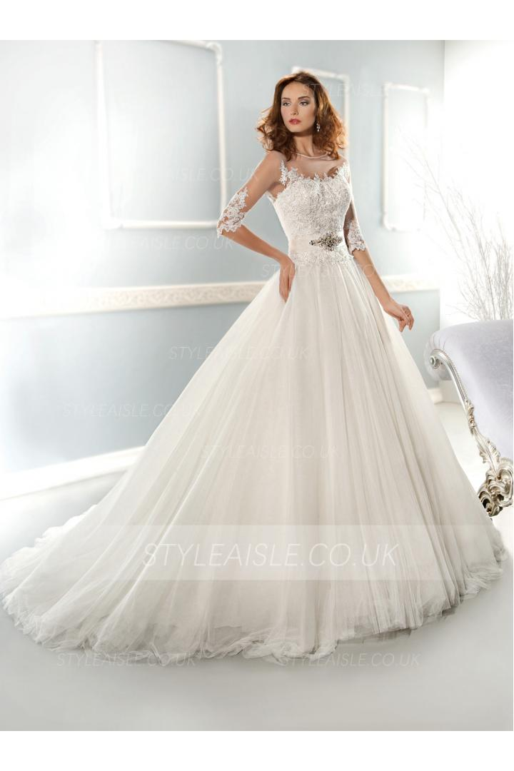 Elegant Ball Gown Bateau Beading&Sequins Lace Chapel Train Tulle Wedding Dress